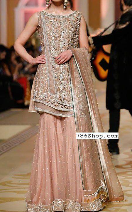 7e59d4d107 Peach Chiffon Suit | Buy Pakistani Designer Fashion Dress in 2019 ...