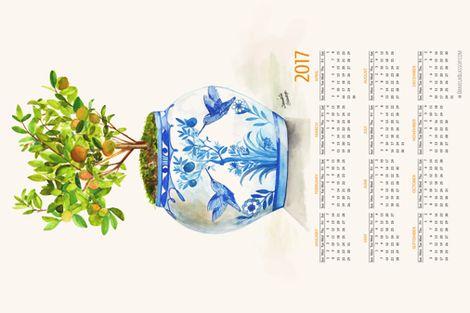 ©DanielaGlassop-2017 Orangerie Calendar fabric by daniela_glassop on Spoonflower - custom fabric www.danielaglassop.com