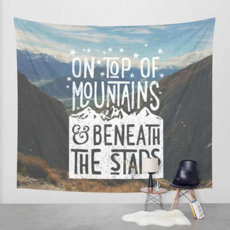 on top of mountain and beneath the stars Wall Tapestry by Cabin Supply Co