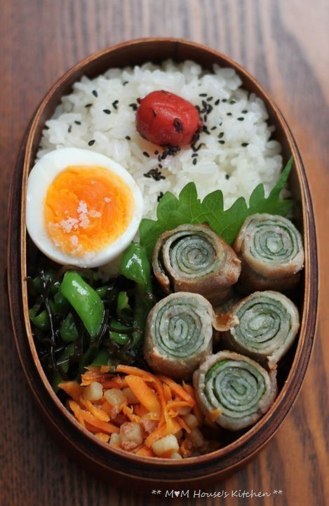 日本人のごはん/お弁当 Japanese meals/Bento 豚のしそ巻き弁当 Japanese Bento Lunch (Thin Pork Roll-Up with Shiso Basil Leaf)