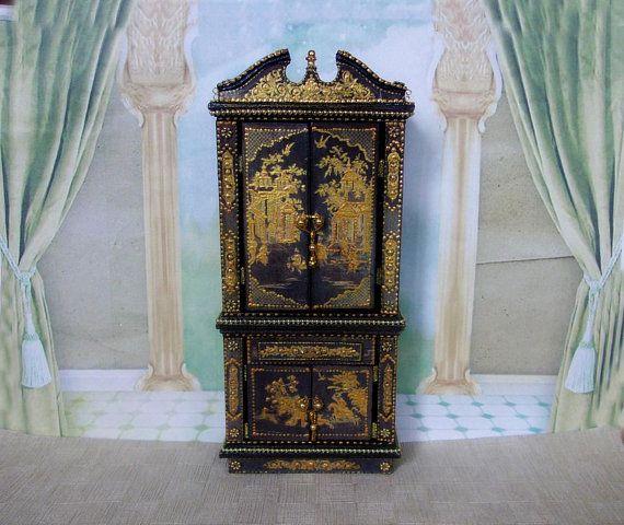 Cupboard for dolls. Wardrobe. Puppet cupboard. Puppet furniture. Furniture for dolls. Scale 1:12