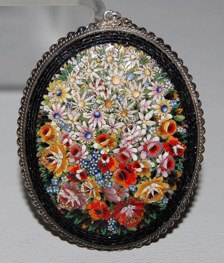Antique Victorian Italian Micro Mosaic Pendant w/ 800 Silver Frame