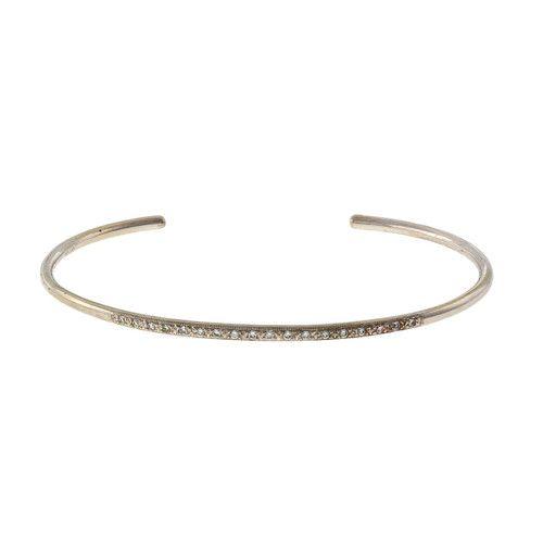 Vintage 14k White Gold 1990 Wire Slip On Diamond Bangle Bracelet