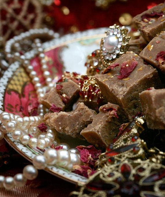 Empress of India Fudge Quarter by EmpireEdibles on Etsy, £5.20  Sweet Chai fudge, topped with rose petals for lazy evenings, watching the sun set over the Empire.  #chai #steampunk #fudge #rose