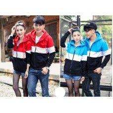Jaket Couple kombinasi tone Jacket Couple Size: Co (L) LD 50, P 59, PL 61 Ce (M) LD 46, P 57, PL 54 Material: Babytery *Tanpa lapisan hoodie
