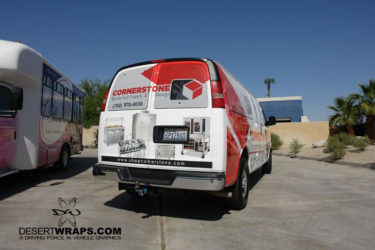 Cornerstone Restaurant Supply and Design partial van wrap installed by DesertWraps.com in Palm Desert, CA. Call us at 760-935-3600. We service customers from Palm Springs, Cathedral City, Rancho Mirage, Palm Desert, Indio, La Quinta, Indian Wells and more. #VehicleWrap #VanWrap #PalmDesert #PalmSprings