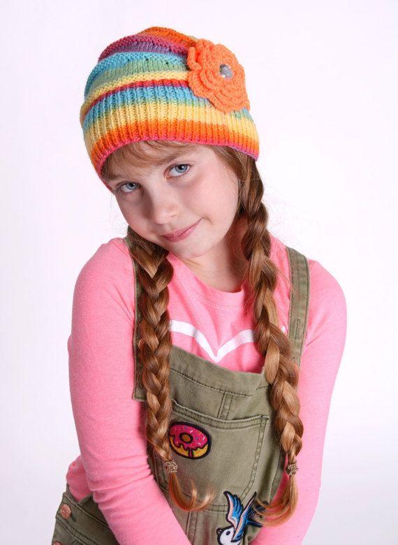 Knitted Children's hat cap raibow color flower by DosiakStyle, #KnittedChildren'shat #caprainbow #childrencap