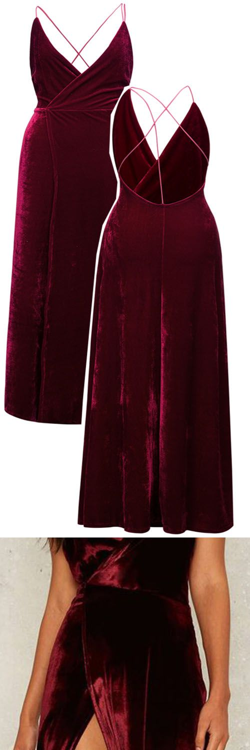 Party Outfit------$32.99 Burgundy Wrap V-neck Split Front Backless Velvet Maxi Dress from Stayingsummer!