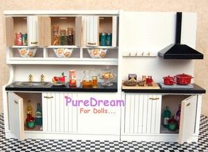 Dollhouse Miniature Kitchen Dining Furniture Set Cabinet w Basin Ventilator | eBay