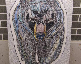 Black bear pen and ink wall art printable, A4 size hand drawn bear, original bear art, bear drawn in ink, printable black bear, grizzly bear