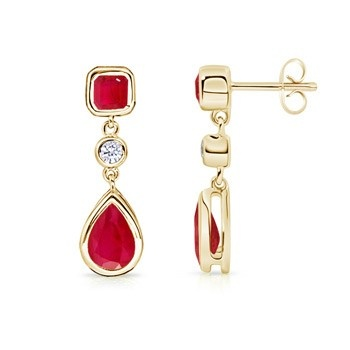 Angara Natural Ruby Gemstone Studs for Her in 14k Yellow Gold