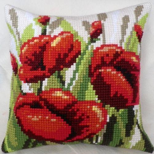"Cross-stitch counted cushion ""Poppy"""
