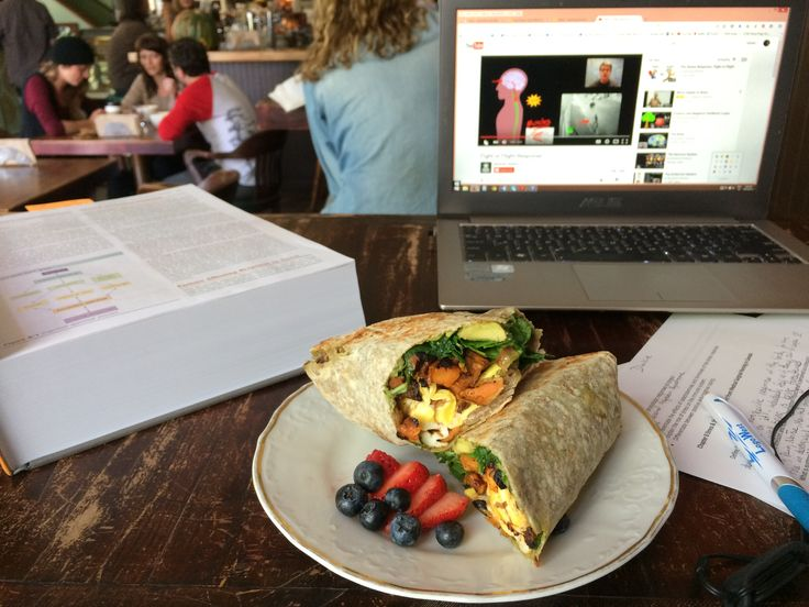 Studying at The Vault mmmm Yam, egg, avacodo breakfast wrap