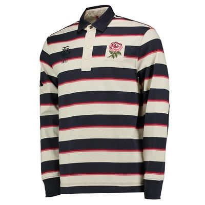 England Rugby Since 1871 Striped Rugby Jersey - Long Sleeve - Bone/Gra