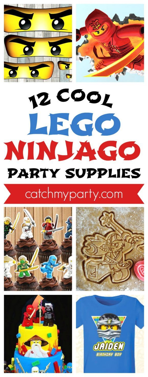12 Cool Lego Ninjago Birthday Party Supplies -- ideas for party decorations, birthday cakes, party favors, party activities, and more!  | CatchMyParty.com