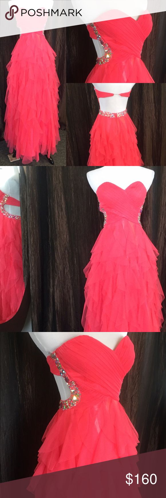Long Coral Dress adorable coral formal dress by Masquerade! This is a strapless size 3/4 with an open back. Excellent condition Masquerade Dresses Prom