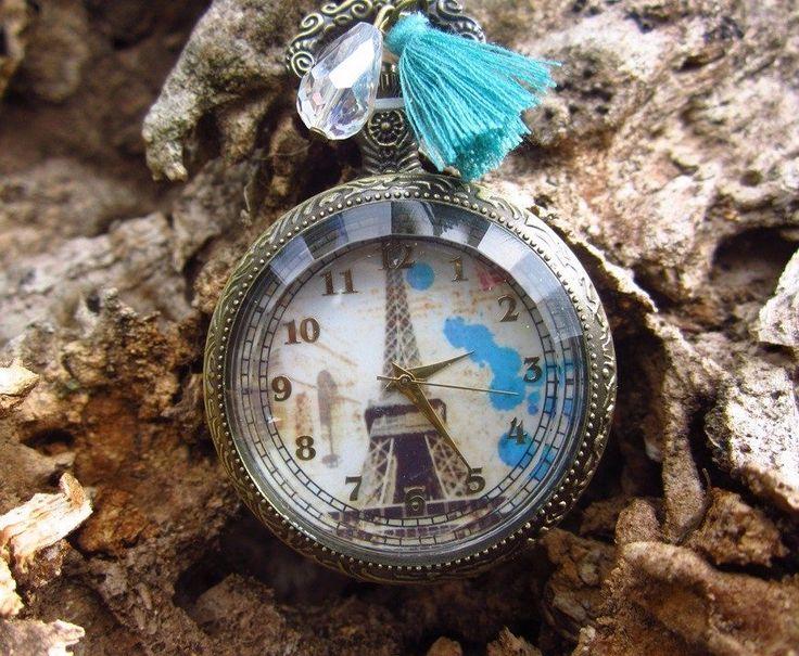 Collares Mujer Reloj  de Bolsillo Estilo Vintaje Oro Antiguo Envejecido Clasico Torre Eiffel Paris Decorado con Borla Flores Cristales y Perlas Bisuteria de Moda Tendencias Encuentralo Online en Bogota Colombia Bisuel Bisuteria y Accesorios para Mujer
