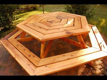 The 11 best benches images on pinterest picnic tables woodworking how to build a picnic table how to build a planter box hexagonal picnic table part 2 of 3 watchthetrailerfo