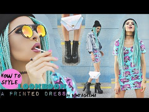 HOW TO STYLE A PRINTED DRESS || LOOKBOOK by VINTAGEENA #fashion #ironfist #grunge #ootd #styling