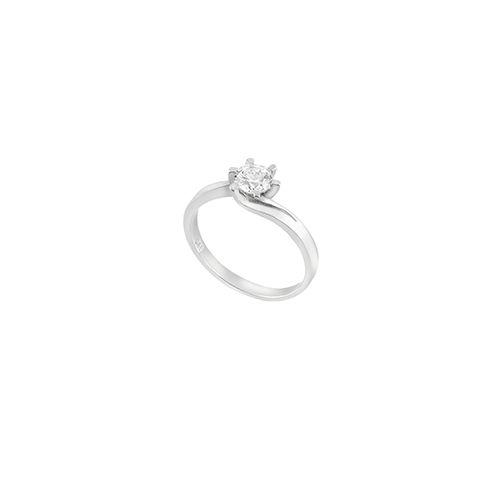 Μονόπετρο  δαχτυλίδι Al'oro  Κ18 λευκόχρυσο διαμάντι ZL1075