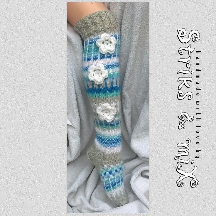 Knit socks with flower, knit socks, knee socks, house socks, woman knit socks, strickade strumpor med blommor, gestrickte socken mit blumen by StriksAndMix on Etsy