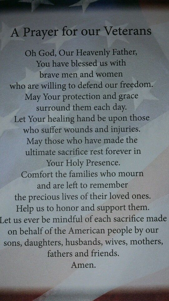 A PRAYER FOR OUR VETERANS | Grateful For Our Veterans ...