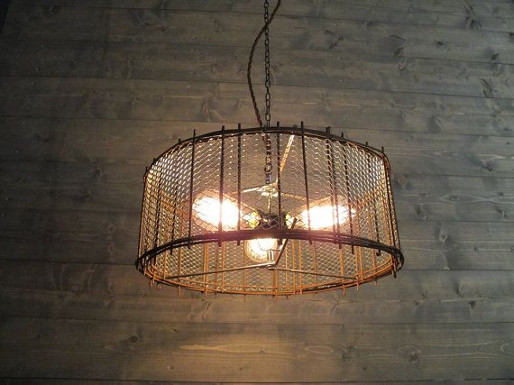 Rustic Chandelier 17  or 21  or 25  Diameter Brown Steel Cage with Metal Screen Mesh - Repurposed Industrial Light - Hanging or Flush Mount & 90 best Upcycled - lights lamps sconces images on Pinterest ... azcodes.com