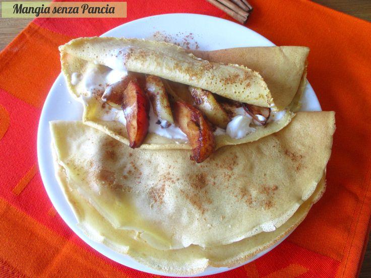 Buonissimi i pancake farciti mela e cannella e anche leggeri: per iniziare la giornata alla grande o anche per una merenda sfiziosa!