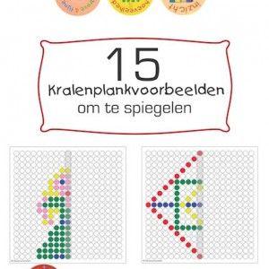 Een pakket van 15 kralenplankvoorbeelden met spiegelopdrachten in diverse thema's waaronder de seizoenen, voetbal, pasen en figuren.