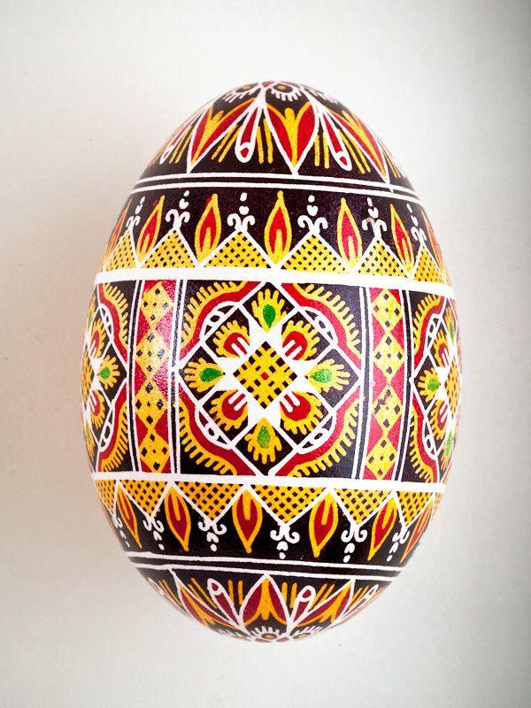 Pysanka Goose Egg Ornament - Design 13