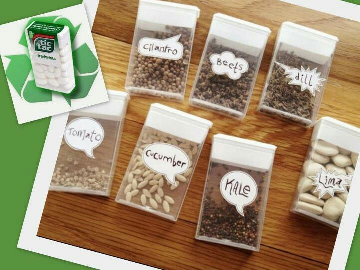 Awesome idea for saving seeds.  Tic Tac containers.