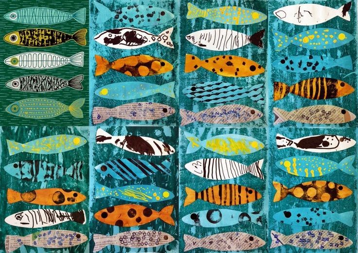 les petites têtes de l'art: D'après les 5 poissons d'Eloïse Renouf