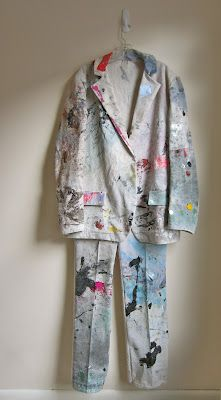 Artists Sarah Bahr and Hugh O'Rourke collaborated to create this killer suit made from a used drop cloth in reference to Joseph Beuy's famous Felt Suit.