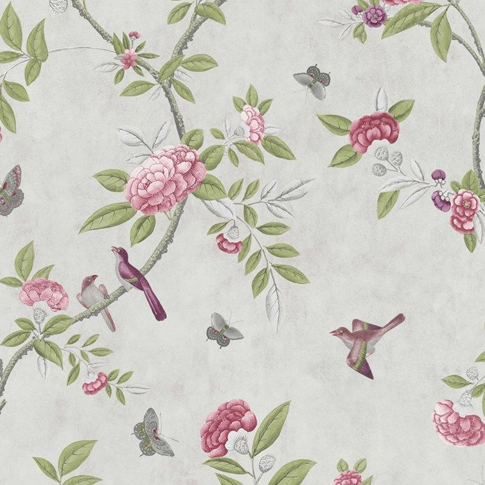Chinoiserie Parchment by Graham and Brown | A trailing parchement cream Chinoiserie peony design reproduced from a fragment of hand-painted wallpaper from Canton, China, 1800–25.