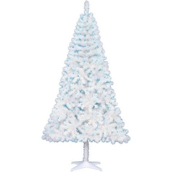 Pre-Lit 6.5' WHITE Artificial Christmas Tree - Clear/ Multi/ Blue lights | eBay