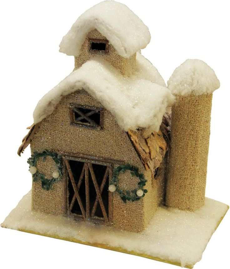 """12"""" Snow Covered Barn with Wreaths Christmas Tabletop Decoration - 32260861"""