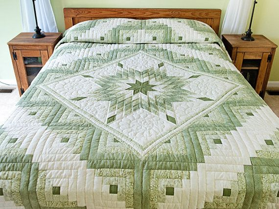 Sale30% Get Free Coupon Beautiful Handmade Homemade Quilts bedspread Bed Cover Cotton King Queen Twin Full White Green Star Flower Log Cabin