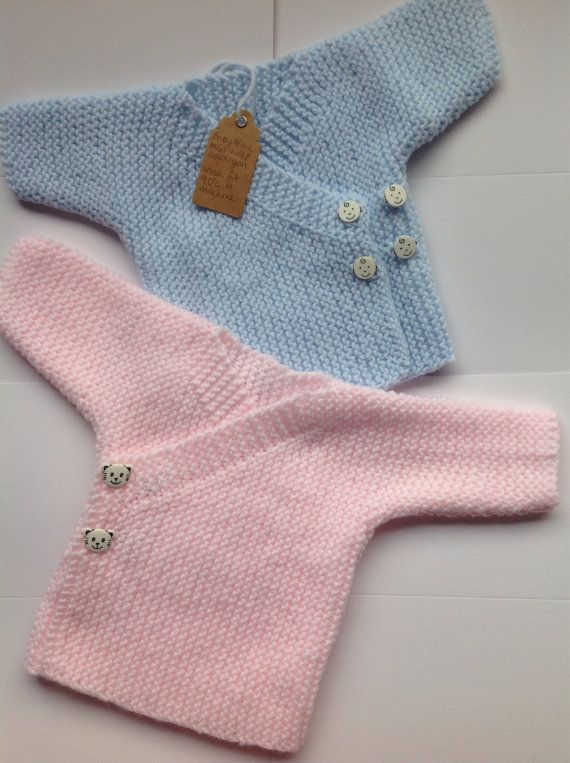 Hand knitted baby wrap cardigan with lovely by Theteacupandtheduck