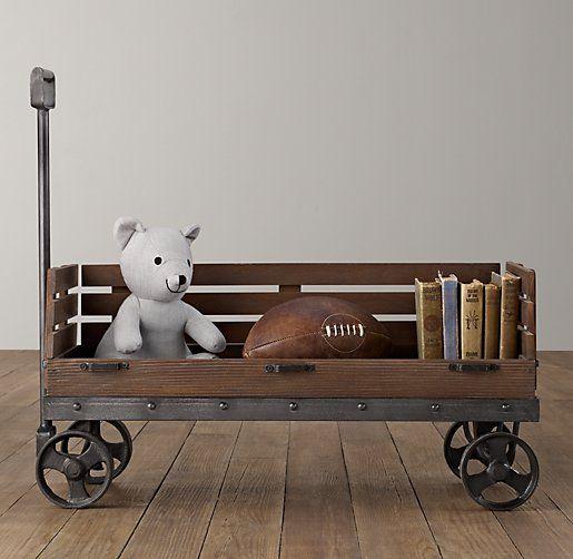 Industrial Wooden Wagon Storage | Novelty Storage | Restoration Hardware Baby & Child