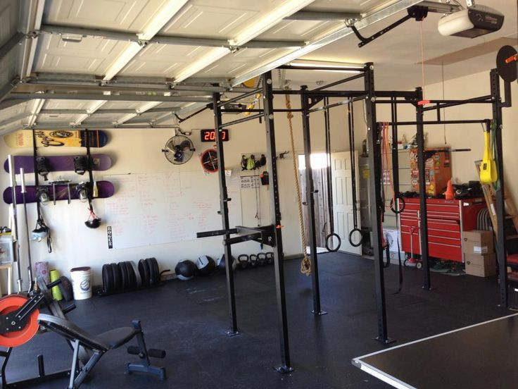 Garage gym navy seal workout and crossfit equipment on