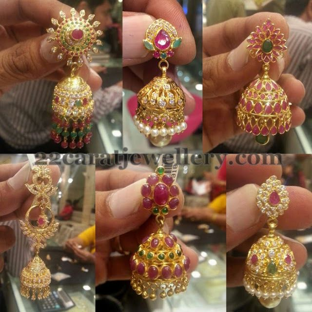 Jewellery Designs: Jhumkas Collection in Ruby CZ