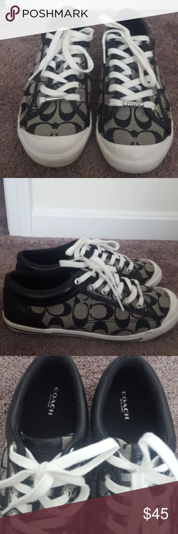 Black coach sneakers Size 9 black coach sneakers with leather on the heel. Worn once! Coach Shoes Sneakers