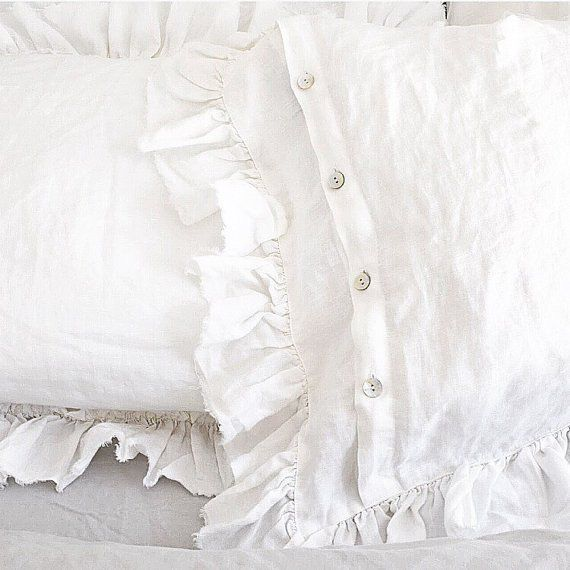 Frayed Ruffle Linen Pillow Sham Luxury Bedding - Hallstrom Home - 1