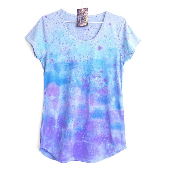 LAVENDER FIELDS.    100% cotton T shirt hand dyed with non toxic / water based fabric paint.  T shirts base colour is pale blue marle.    Colours are