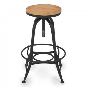 Vintage Bar Stool Swivel Wood Top Adjustable Seat Height Industrial Rustic! This adjustable stool allows you to go from counter to bar height in just a turn of the top. The java finish contrasts nicely with the black steel base!