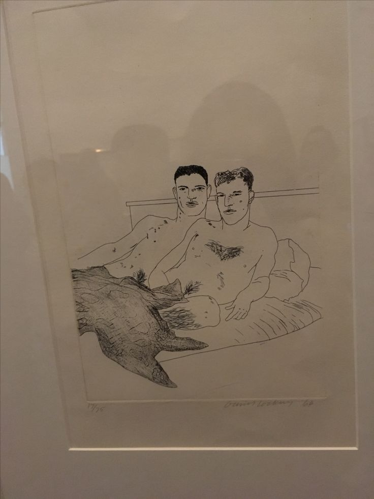 One of Hockey's paintings of a gay couple