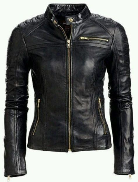 7a7868b7962d Women Black Handmade Padded Real Leather Jacket with Gold Zippers in ...