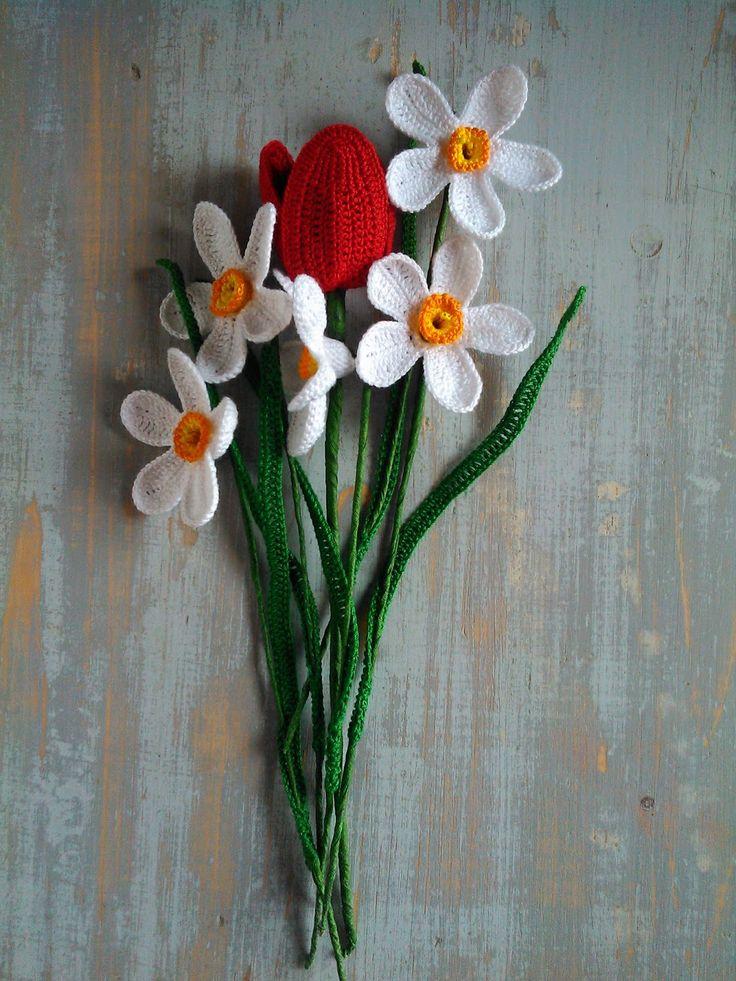 Crochet daffodil, crochet tulip