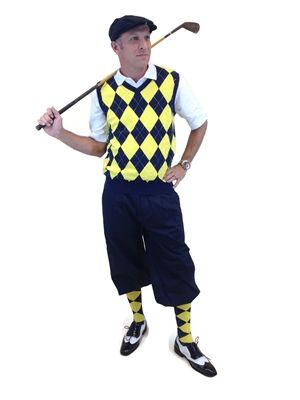 Men's Complete Golf Knickers Outfit includes a Navy/Yellow/White Overstitch sweater vest and socks that complement navy blue golf knickers and cap.