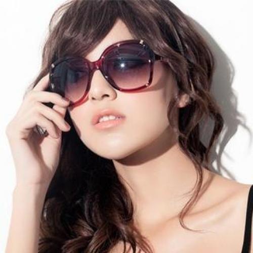 Faux-Leather Trim Sunglasses